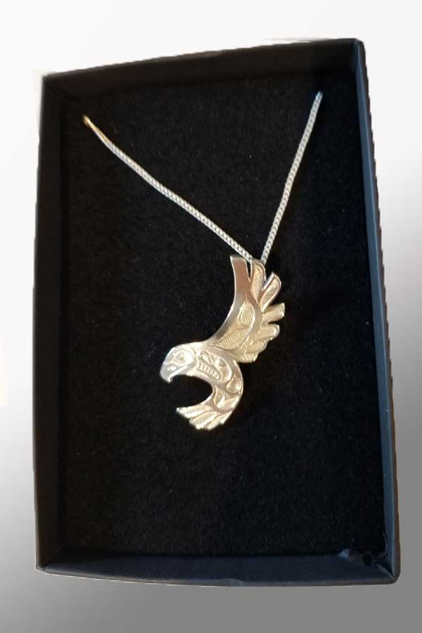 Eagle Free Flight Silver Pewter Pendant - art by Bill Helin