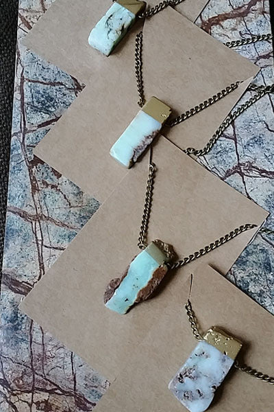 Gold Dipped Chrysoprase Natural Stone Necklace - Natural Clothing Company