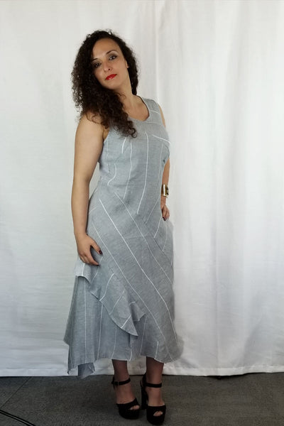Italian Linen Dress by Inizio - Haley Striped - Natural Clothing Company