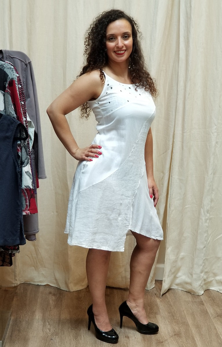 Italian Linen Dress by Inizio - Spaghetti Straps and Dots