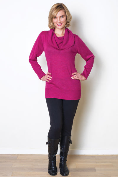 Merino Wool Cowl Sweater - Kathy - Natural Clothing Company