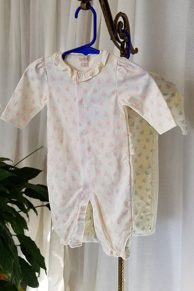 Baby Organic Cotton Playsuit - Mini Bear Print - Natural Clothing Company