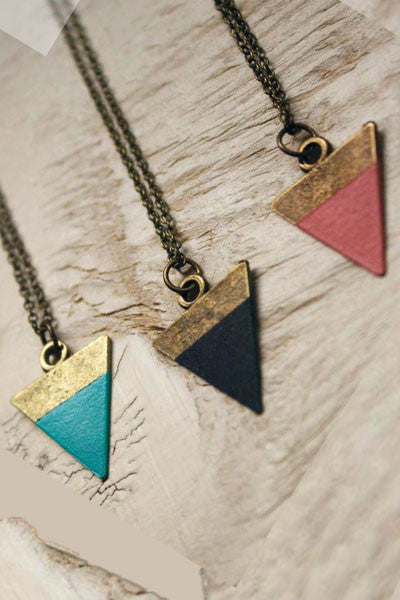 Triangle Painted  Necklace