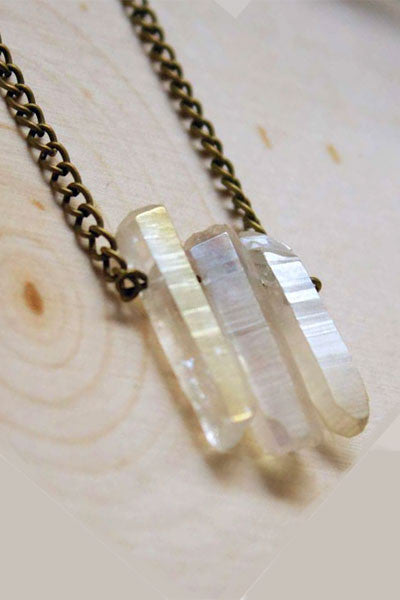 Tri-Aura Crystal Natural Stone Necklace