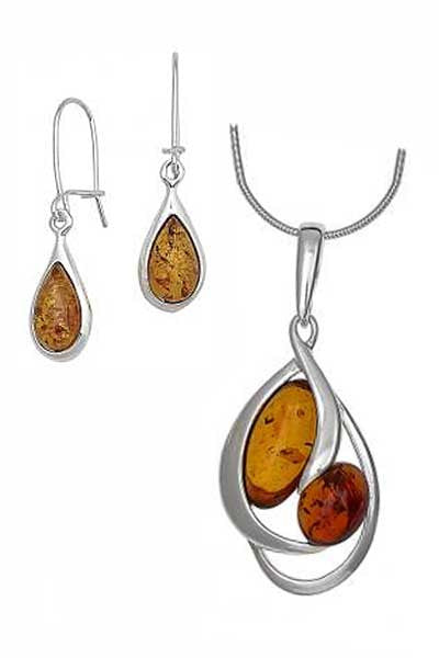 Baltic Amber Pendant, Earrings, Chain Set