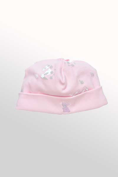 Baby Organic Cotton Reversible Hat - Bunny Print