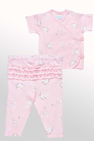 Organic Cotton Shirt and Pants Set - Bunny Print - Natural Clothing Company