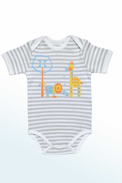 Baby Organic Cotton Onesie - Jungle Animals Print - Natural Clothing Company