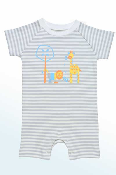 Baby Organic Cotton Romper - Jungle Animals Print - Natural Clothing Company