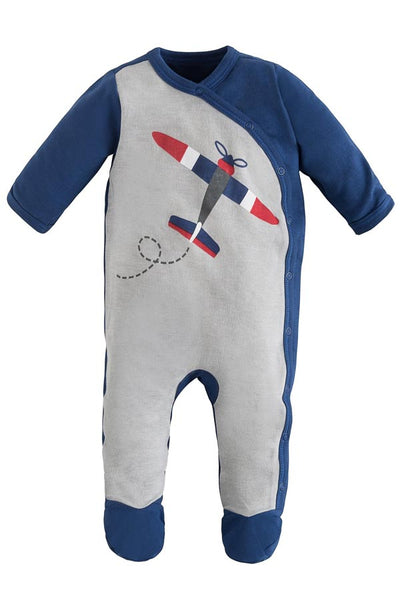 Organic Cotton Side Snap Footie - Airplane - Natural Clothing Company