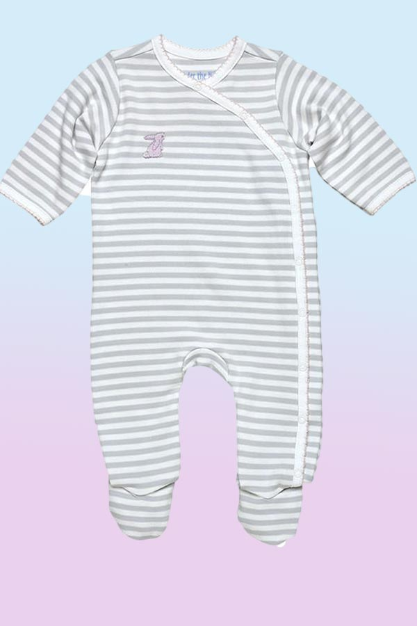 Baby Organic Cotton Side Snap Footie - Pink Bunny - Natural Clothing Company