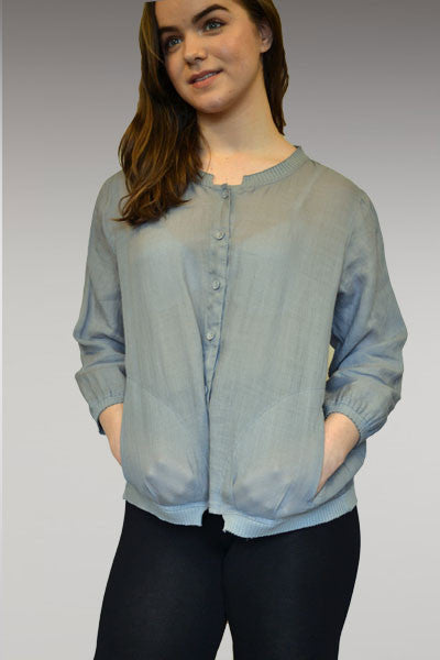 Cropped Bomber Jacket with a Trim - Natural Clothing Company