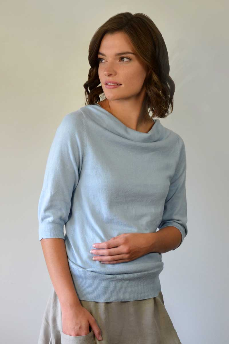Drape Neck Light Sweater