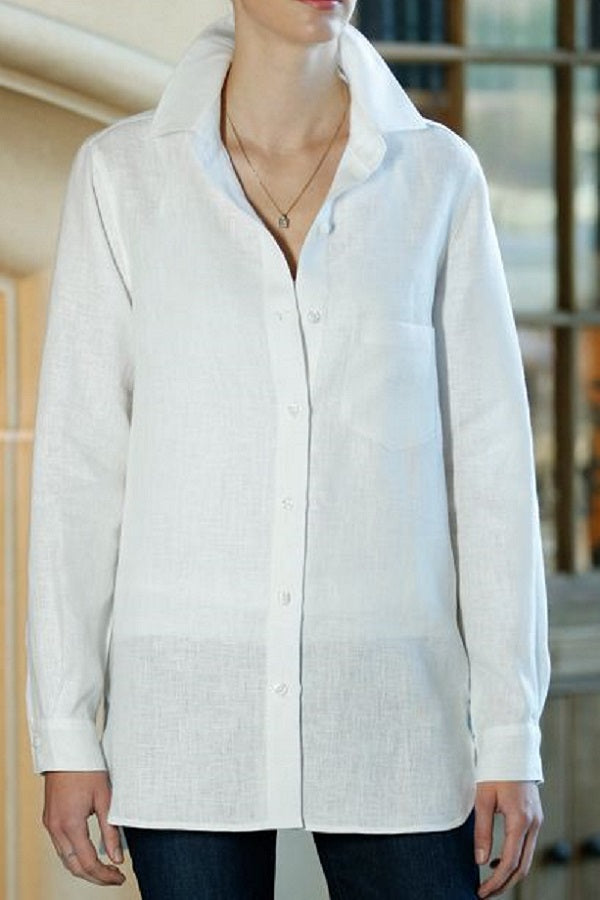 Classic White Linen Shirt - Natural Clothing Company