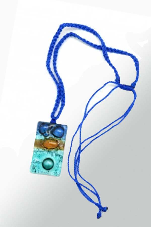 Handmade Fused Glass Pendant with Macrame Strap