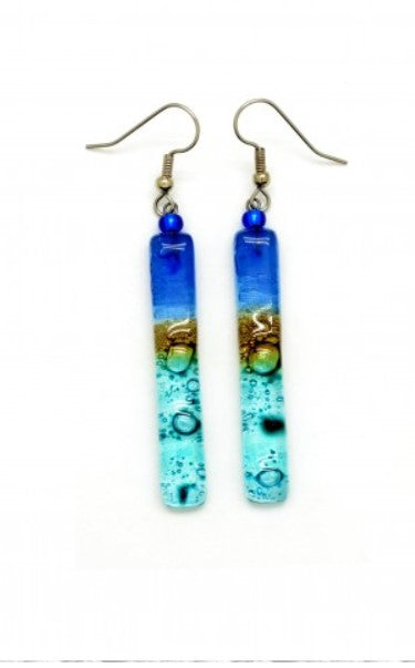 Handmade Fused Glass Earrings - Long Sticks