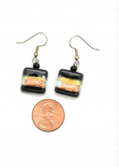Handmade Fused Glass Earrings - Square