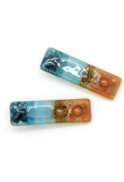 Handmade Fused Glass Hair Clips- set of 2