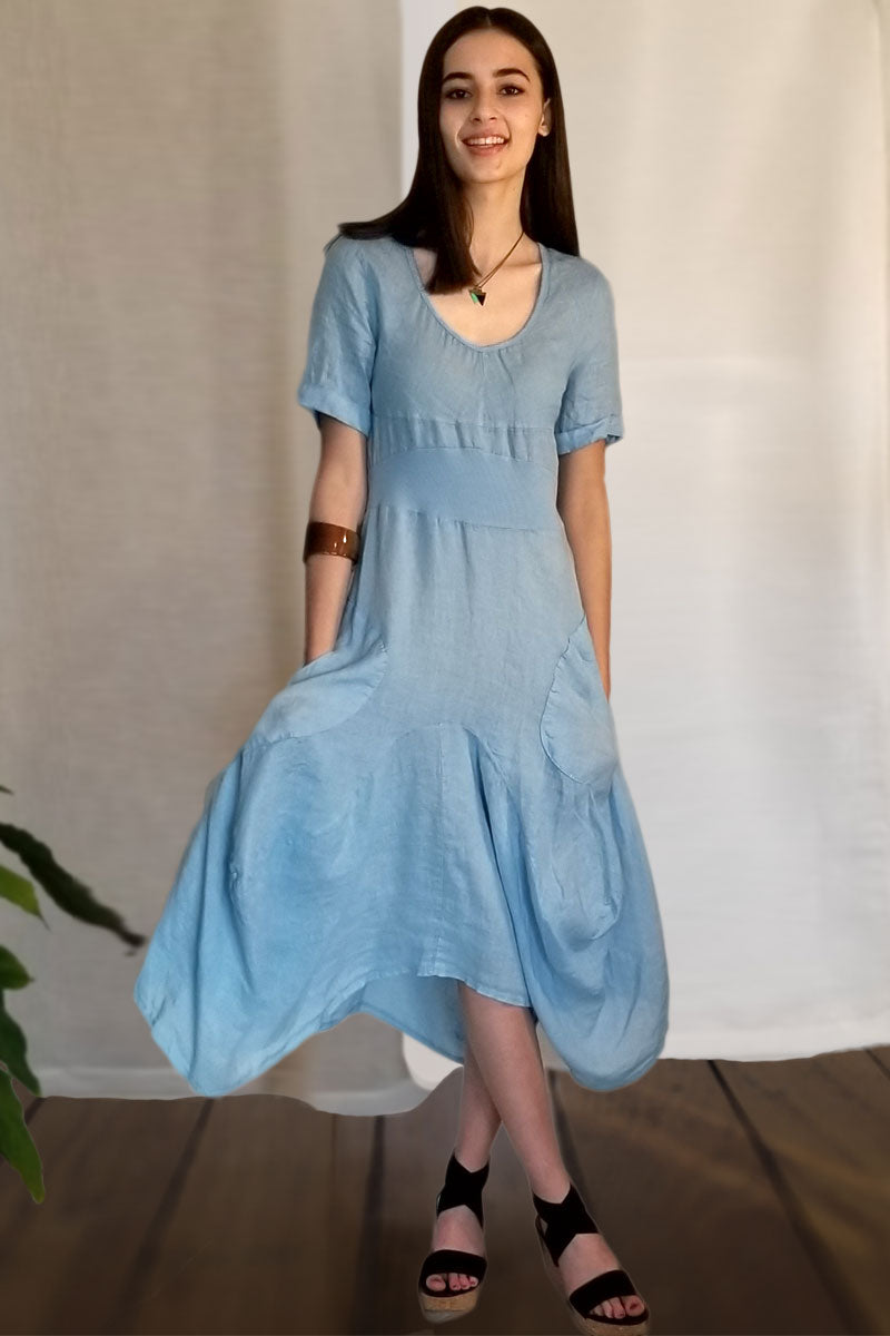 Italian Linen Dress by Inizio - Magic with short sleeve - Natural Clothing Company