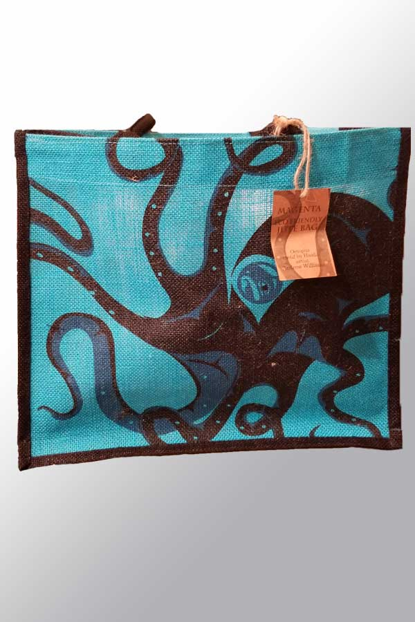 Octopus Jute Shopping Bag - artwork by Andrew Williams