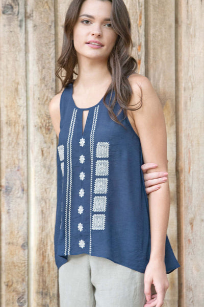Organic Linen Embroidered Top - Mia - Natural Clothing Company