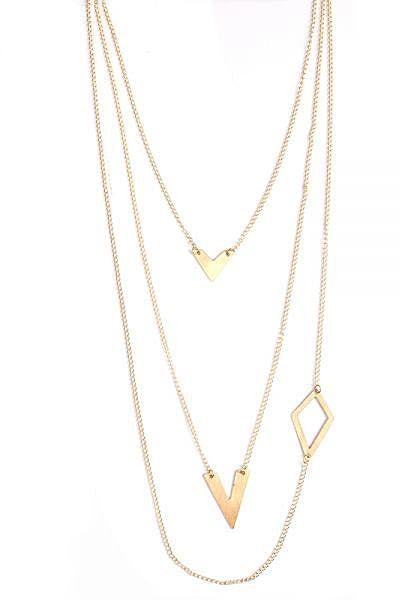 Linked Shapes Triple Necklace