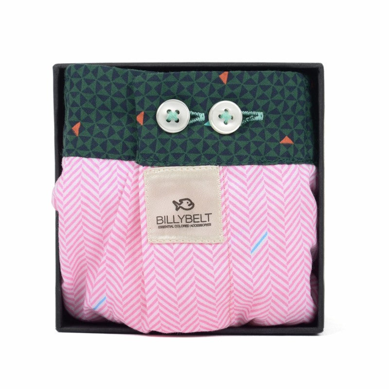 Men's Organic Cotton Boxers - Pink Herringbone