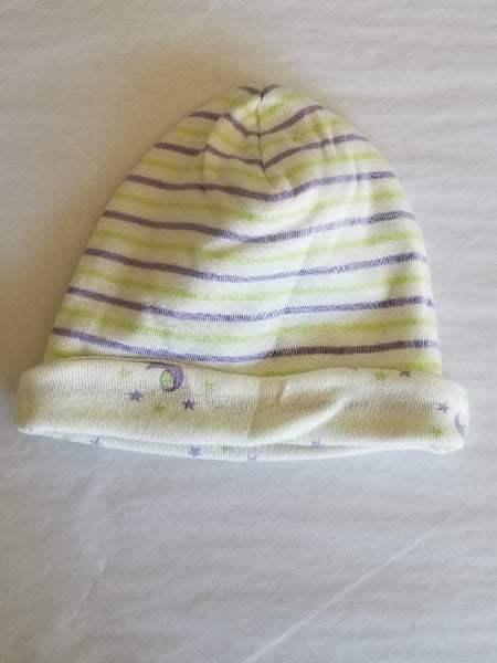 Organic Cotton Hat - reversible colored stripes