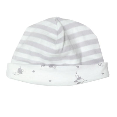 Organic Cotton Hat - reversible grey stripes - Natural Clothing Company