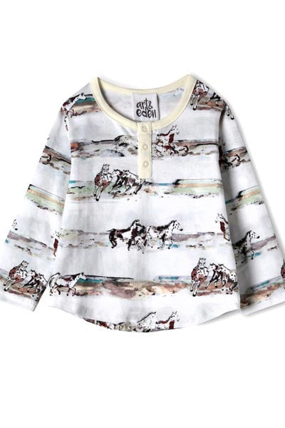 Cotton Henri Horses Top - baby 3 mo. to 24 mo. - Natural Clothing Company