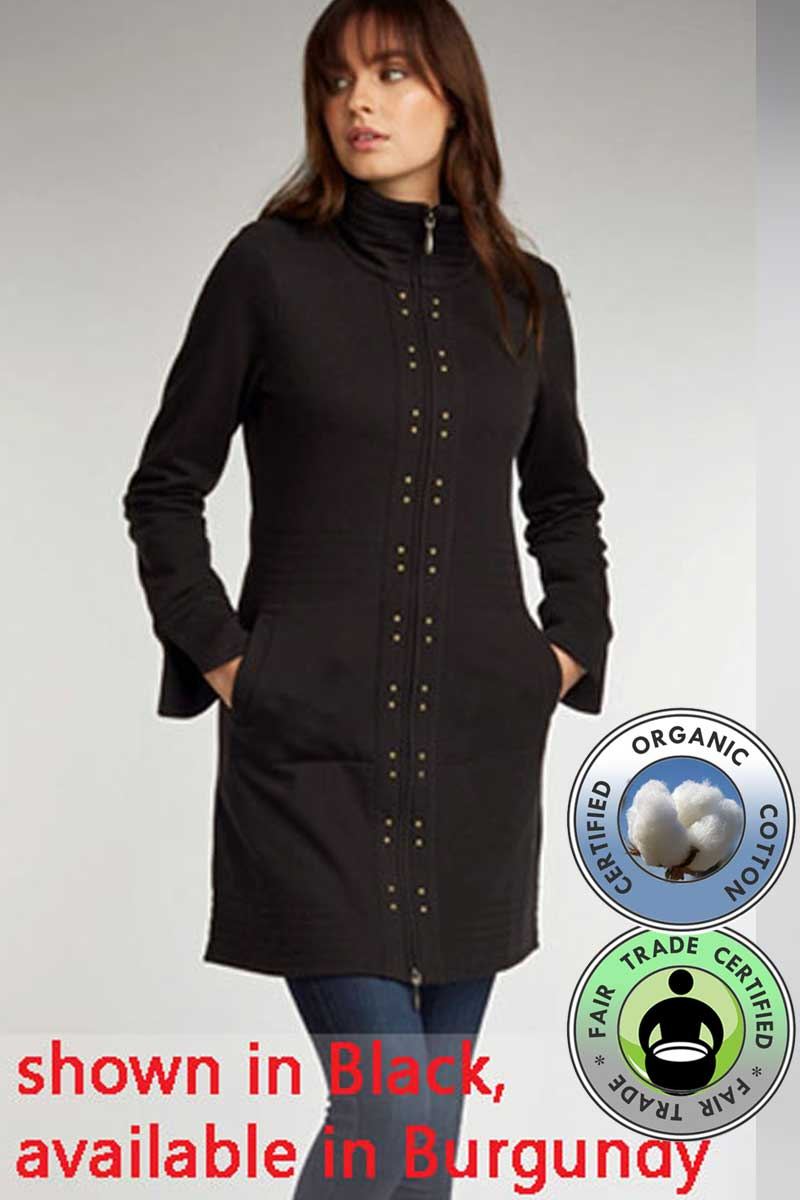 Organic Cotton Fleece Coat - Studded - Natural Clothing Company