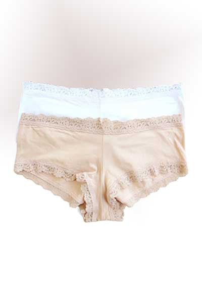 Women's Organic Cotton Panties - Lace Boy Shorts