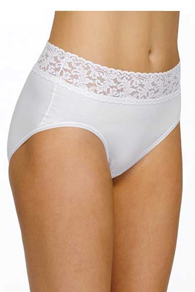 Organic Cotton Full Brief with Lace (size S thru 2X)