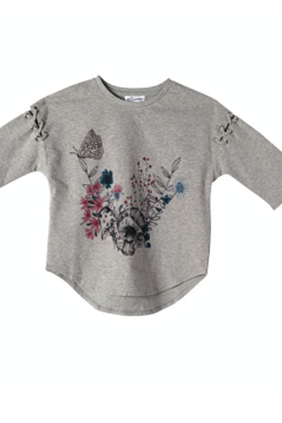 Organic cotton lace-up Tee - Zoey, girls 3T to 5T