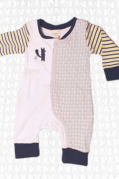Baby Organic Zip Romper - Foxy - Natural Clothing Company