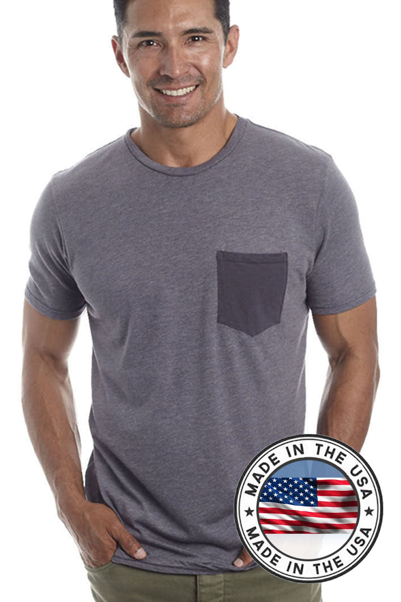 Men's Eco-friendly Crew T-shirt with contrast pocket - Natural Clothing Company
