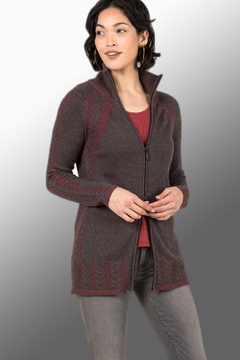 Organic Cardigan - Cable Zip Style