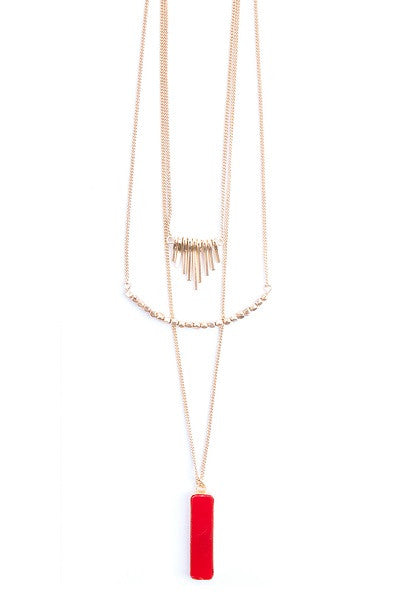 Red Pendant Triple Necklace