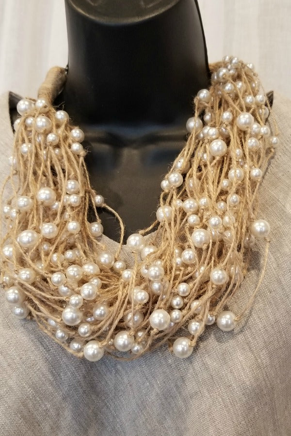 Flax and Pearls Necklace - Natural Clothing Company