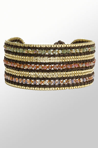 Wide Beaded Crystal Cuff - Jasmine