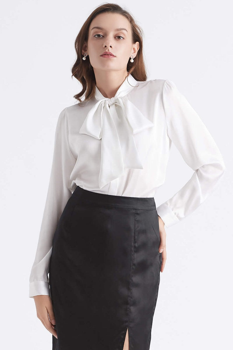 Silk Bow or Tie Blouse