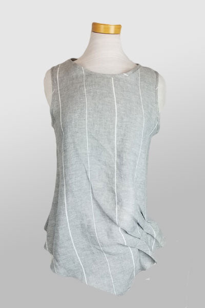 Italian Linen Sleeveless Top from inizio - striped - Natural Clothing Company