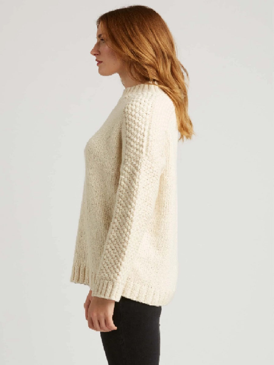 Bobble Shoulder Pullover in undyed cotton