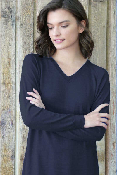 Merino Eco-Wool V-neck Tunic Sweater - Natural Clothing Company