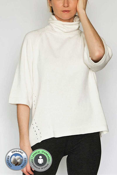 Funnel Neck Sweater with Pique - Natural Clothing Company