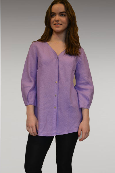Linen Buttoned Shirt - 3/4 sleeve - Natural Clothing Company