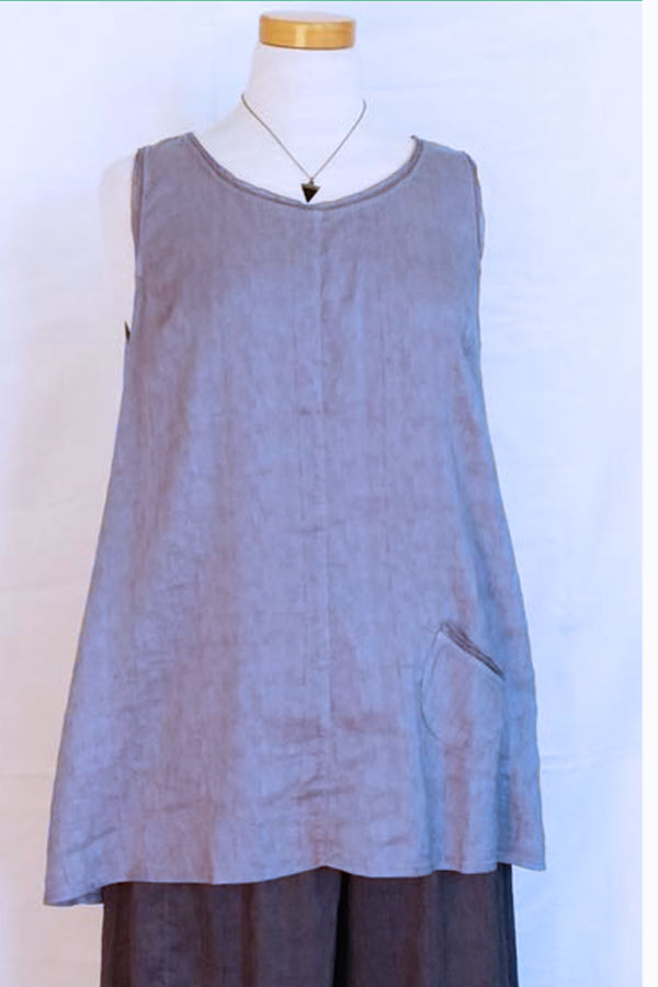 Silk And Linen Blend Sleeveless Tunic Natural Clothing