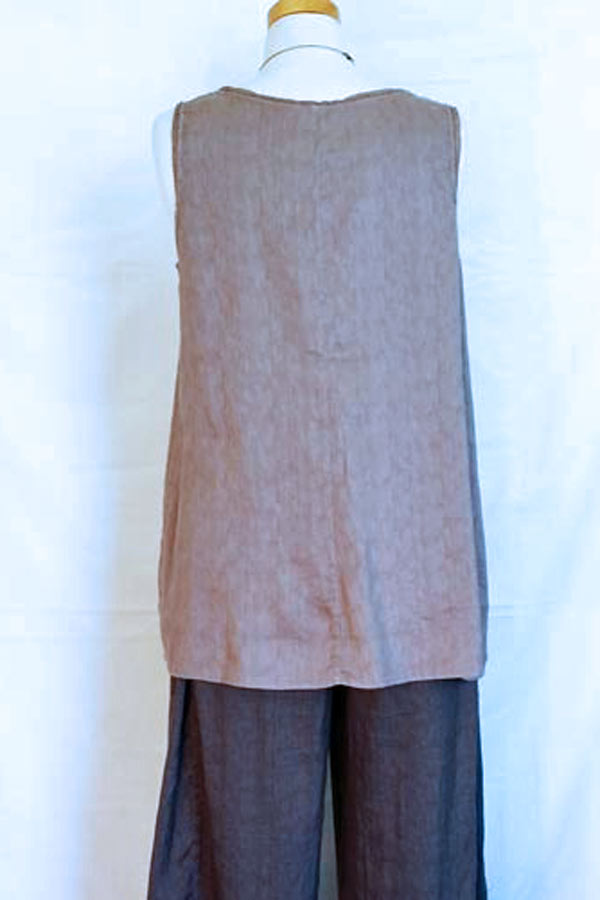 Silk and Linen Blend Sleeveless Tunic