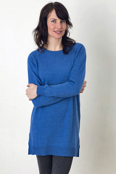 Merino Eco-Wool Crew Tunic Sweater - Katie - Natural Clothing Company