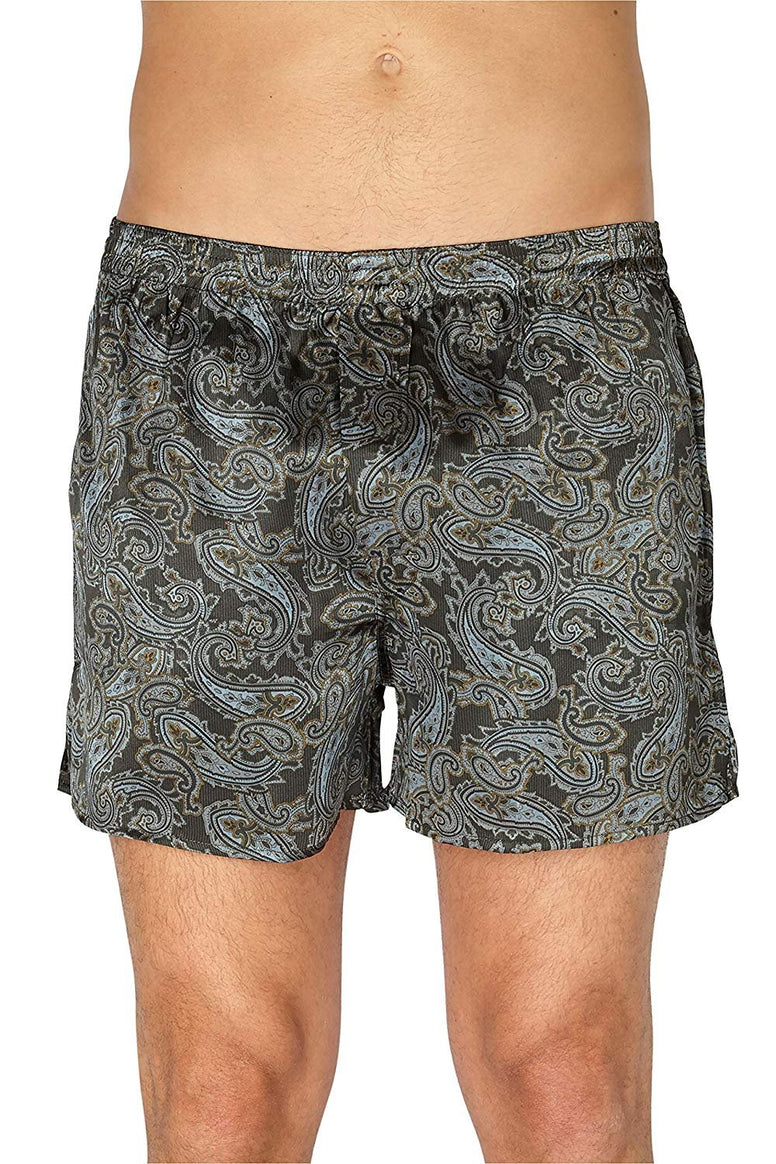 Intimo Men's Printed Silk Boxers, Black, Medium